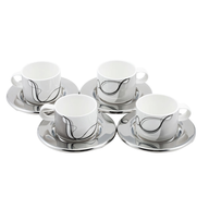 wholesale discount cup set silver white