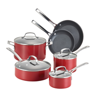 wholesale discount red pots pans set